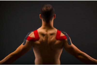 male back with KT tape