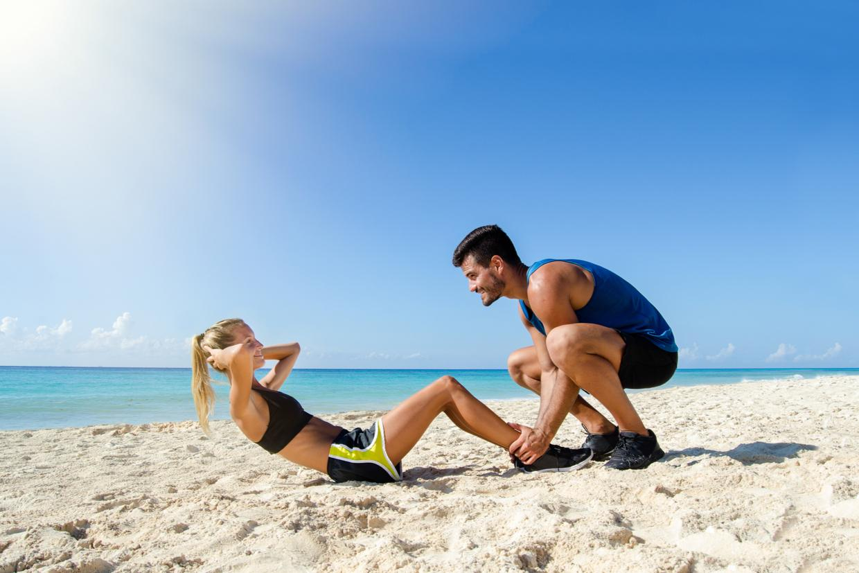Try this 15-Minute Beach Workout Using a Resistance Band