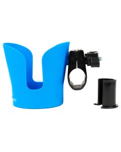 Blue wheelchair cup holder pictured in use holding a coffee mug.