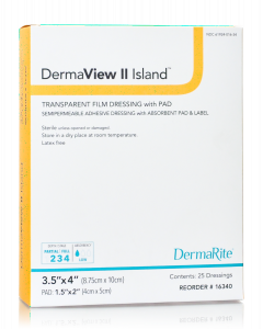 DermaView II Island Transparent Film Wound Dressing with Non-Adherent, Absorbent Pad