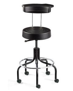 ErgoLux Polyurethane Stool with Backrest Tall