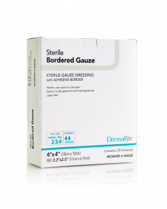 Bordered Gauze Wound Dressing With Adhesive Border