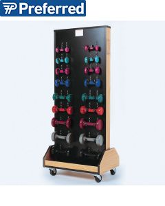 Rack with Weights and Dumbbells