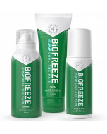 3 different Biofreeze Classic products for fast acting pain relief from left to right: spray bottle, squeeze bottle & roll-on.