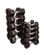 Rubber Hex Dumbbells with Chrome Handle