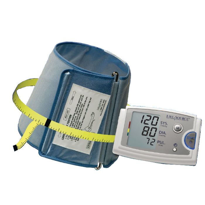 Bariatric blood pressure cuff with measuring tape around the cuff and extra large digital display