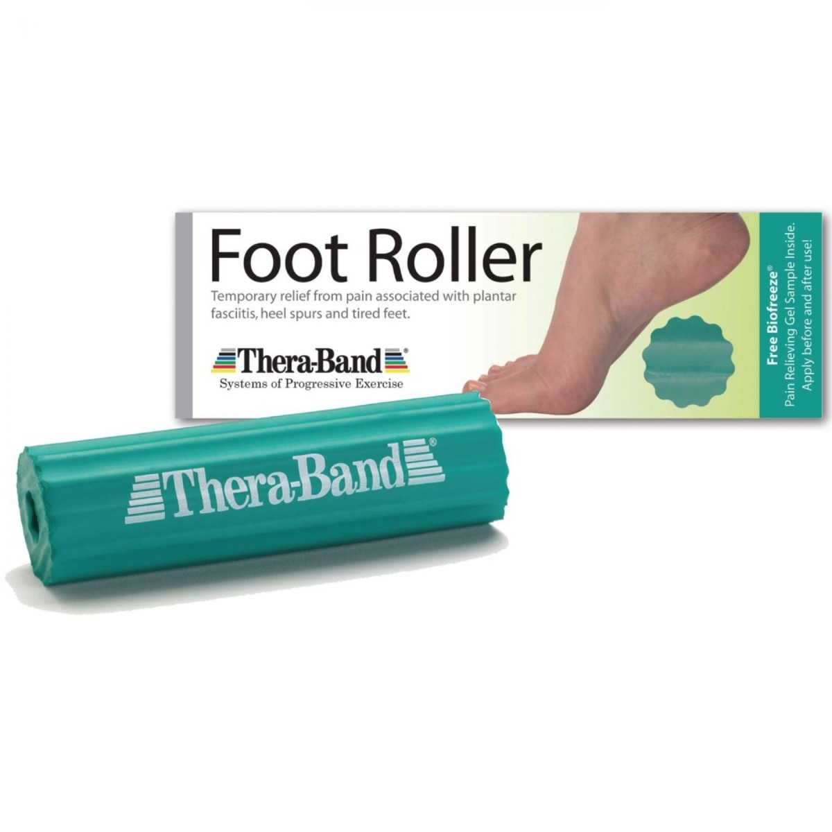 Product photo of green Theraband foot roller in front, with box behind it
