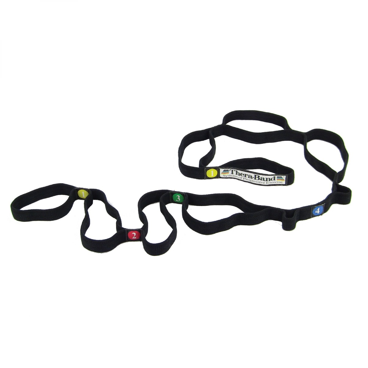 Black TheraBands stretch strap with loops