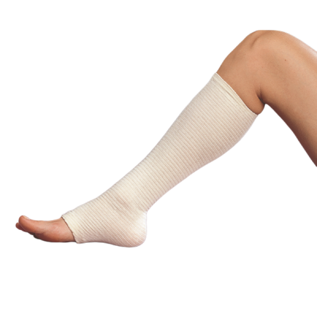Tubigrip pictured in use on persons calf and part of their foot