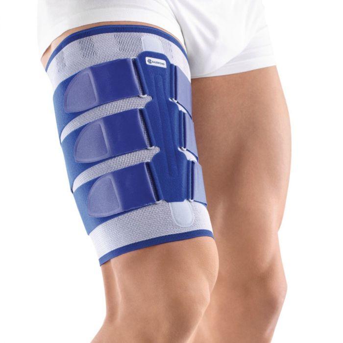 Bauerfeind MyoTrain seen on person's upper thigh