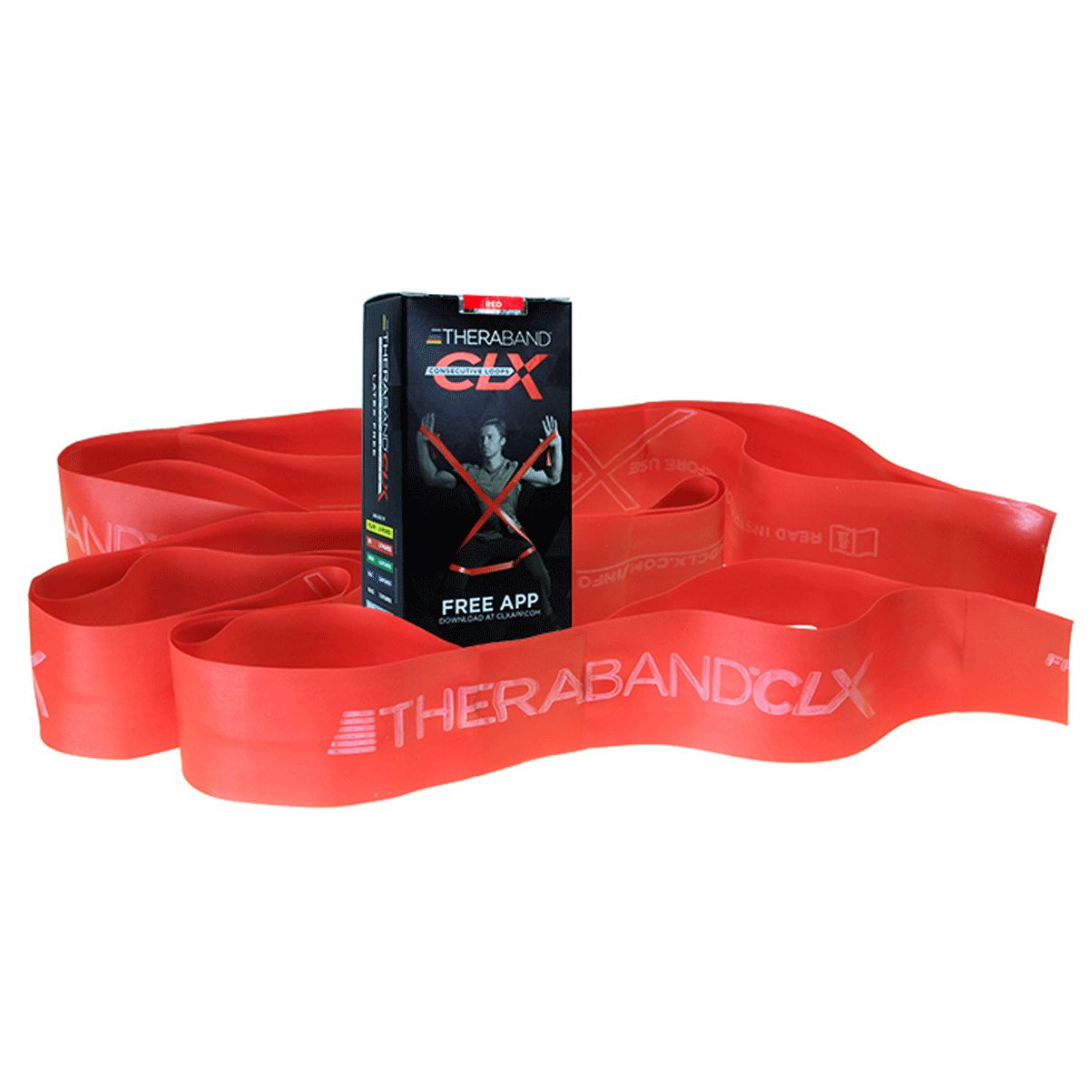 Red TheraBand CLX Resistance Band Loop with product box