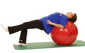 Exercise Ball Bridge Knee Extension