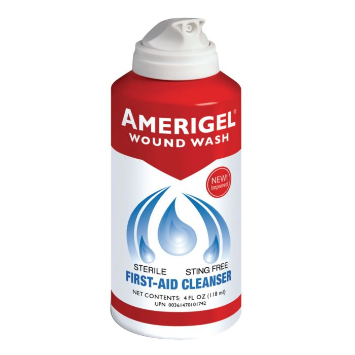 Red, white and blue 4 oz. can of Amerigel Wound Wash