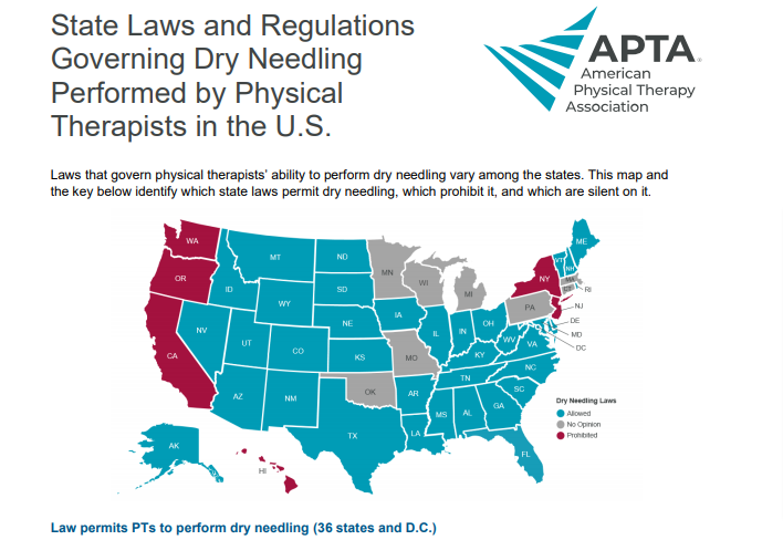 Map of the United States that shows States Laws Governing Dry Needling Practice by Physical Therapists: 2019