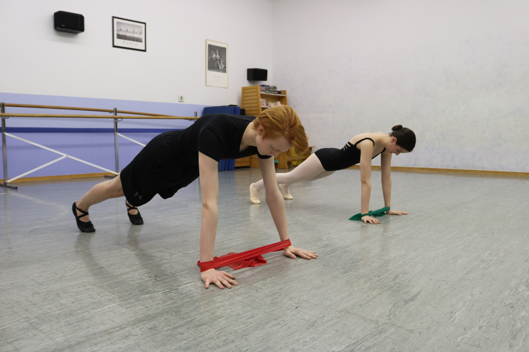 ballerinas doing planks
