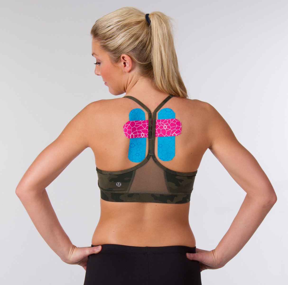 woman with tape on back