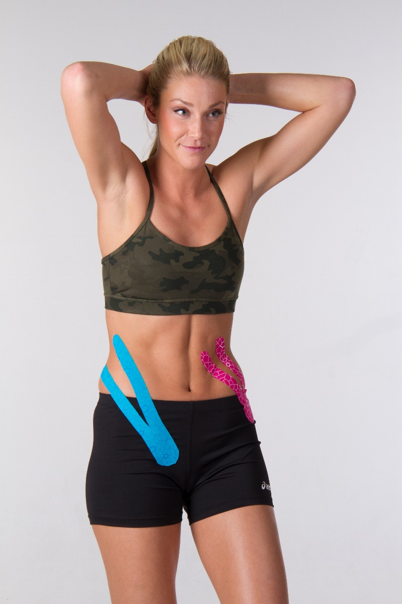 woman with hips in KT tape