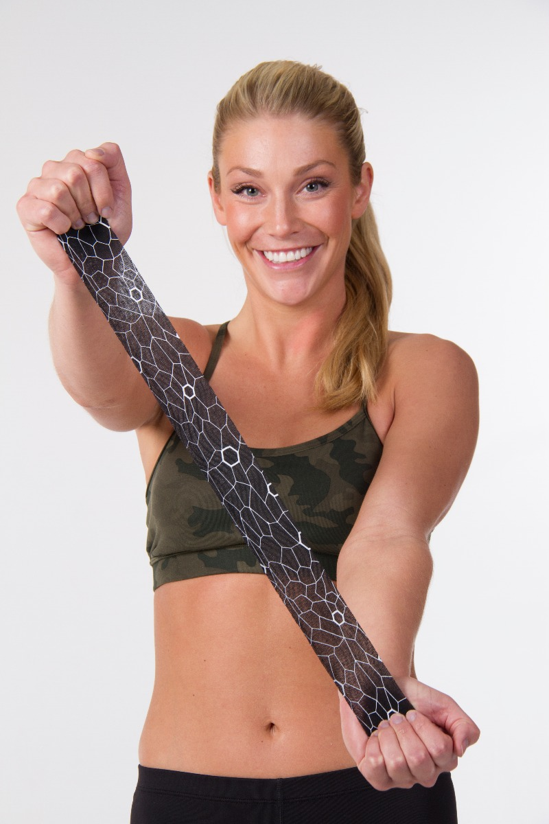 woman stretching kt tape
