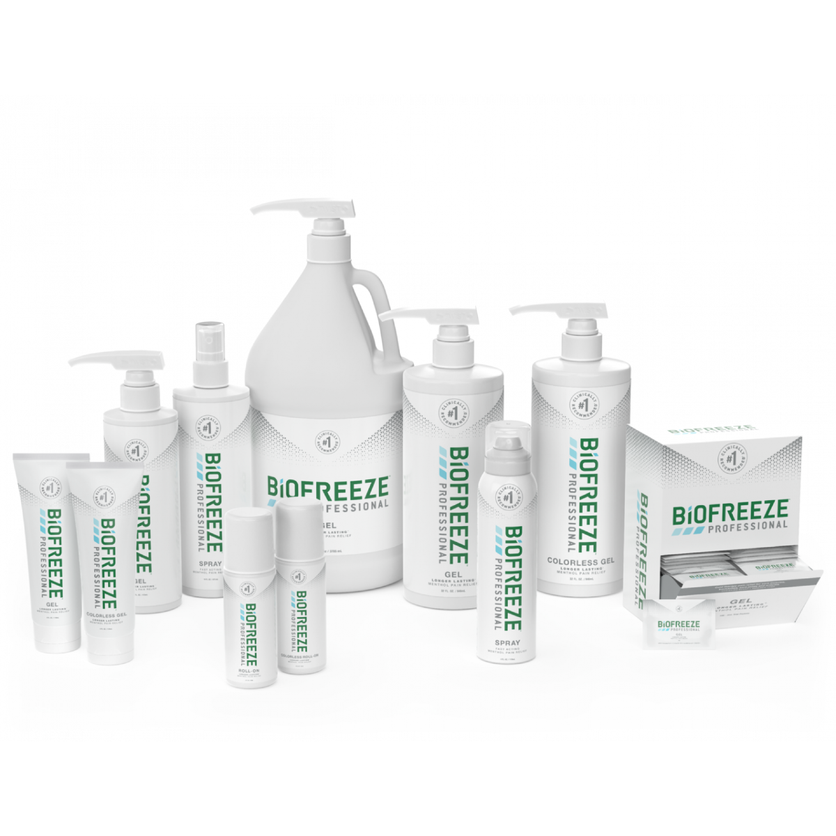 Biofreeze Professional series products in all available options and white packaging