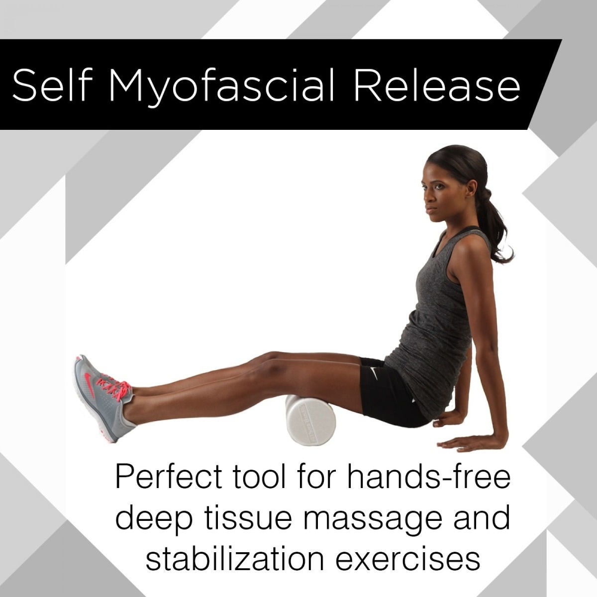 Person on floor, using foam roller on hamstring muscle, with text overlay that says Self Myofascial Release