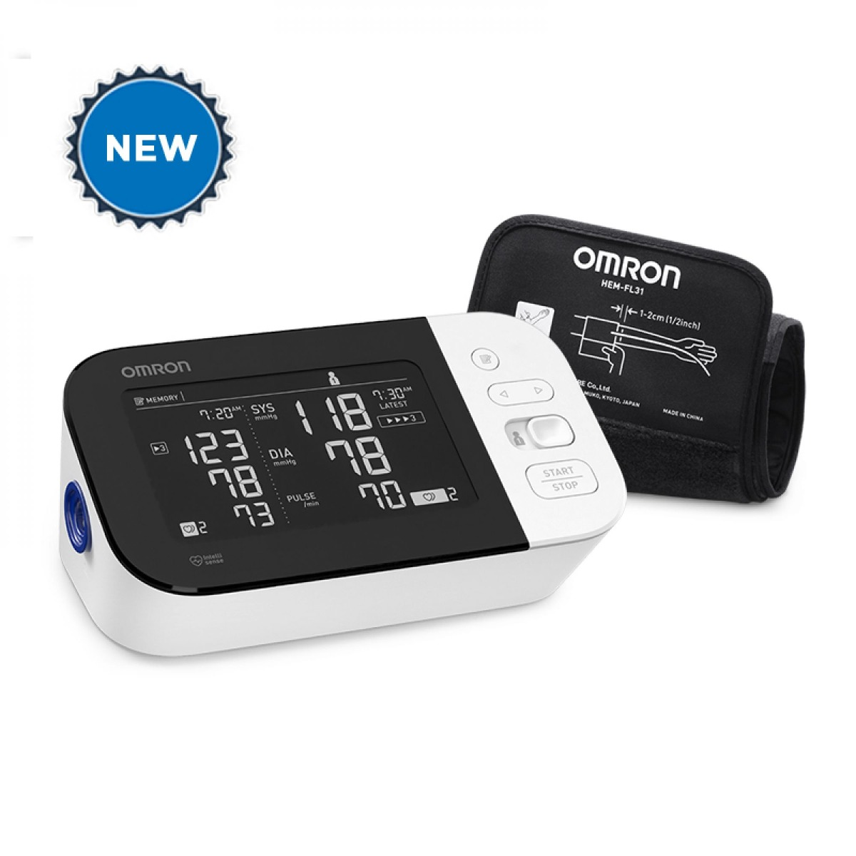 New wireless Omron 10 series arm blood pressure monitor machine with digital display and cuff