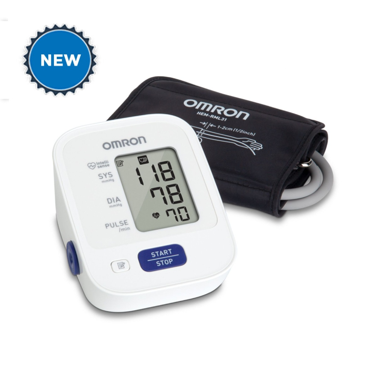 New white Omron 3 series arm blood pressure monitor machine with digital display and cuff