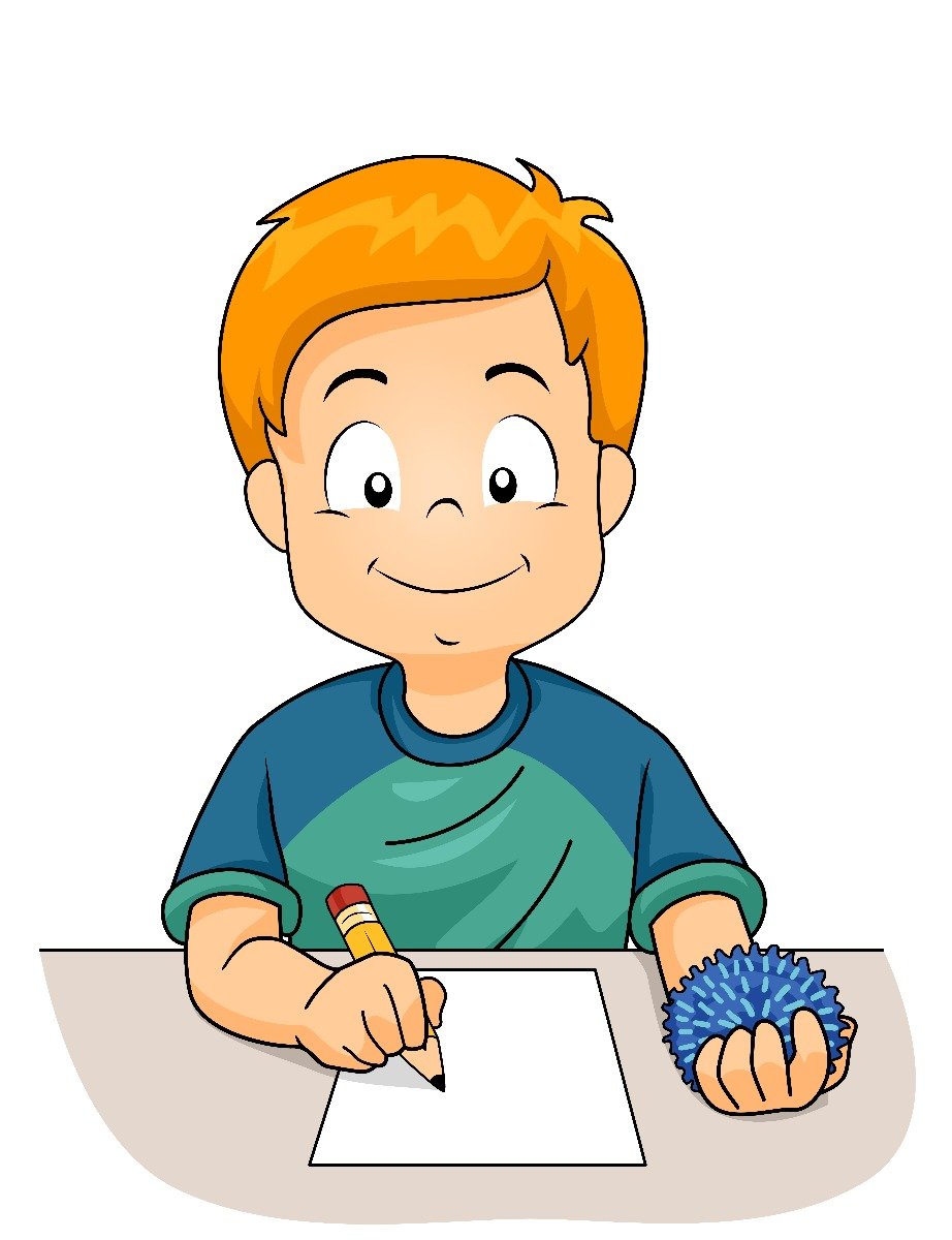 cartoon boy writing
