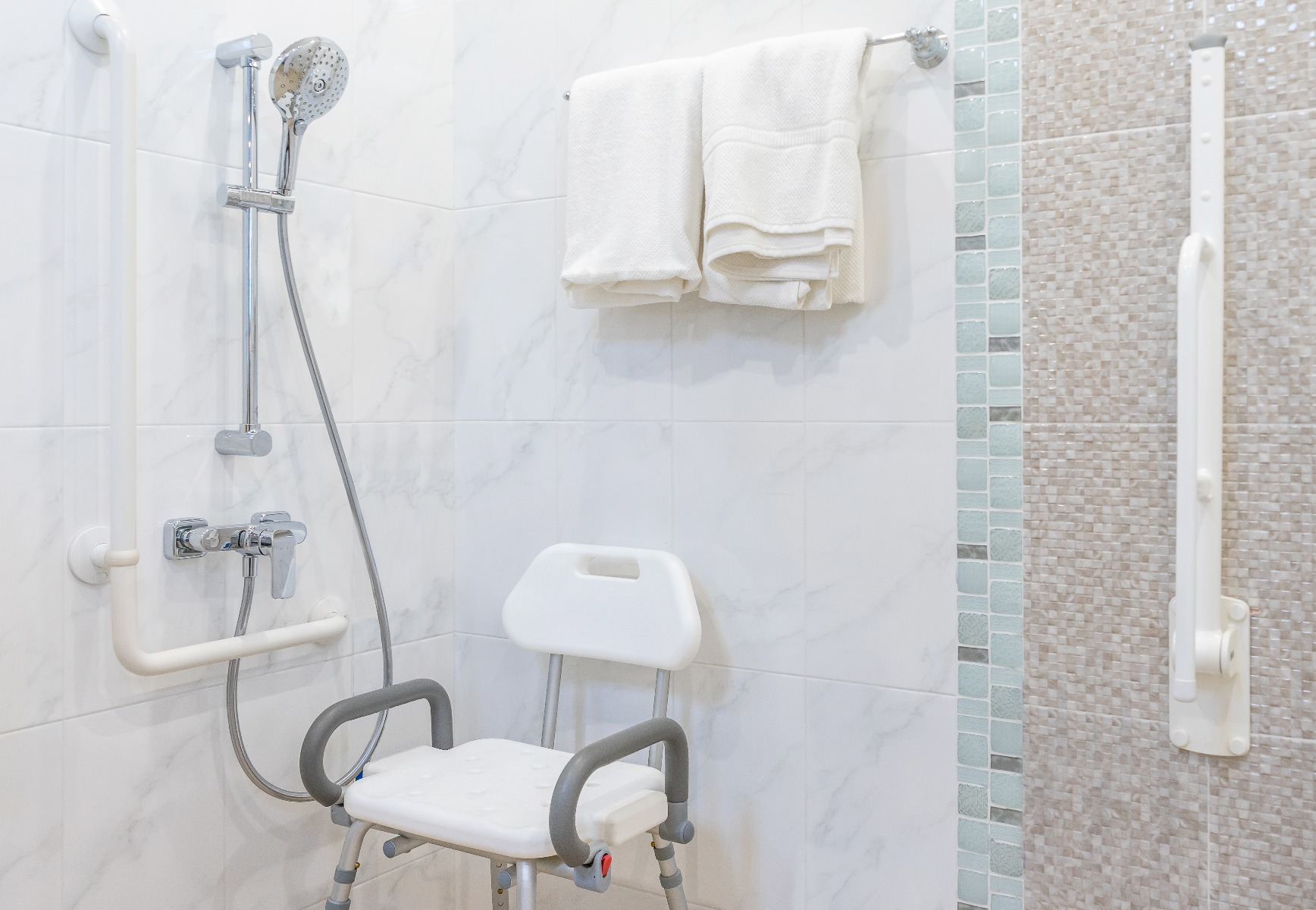 shower with chair in it