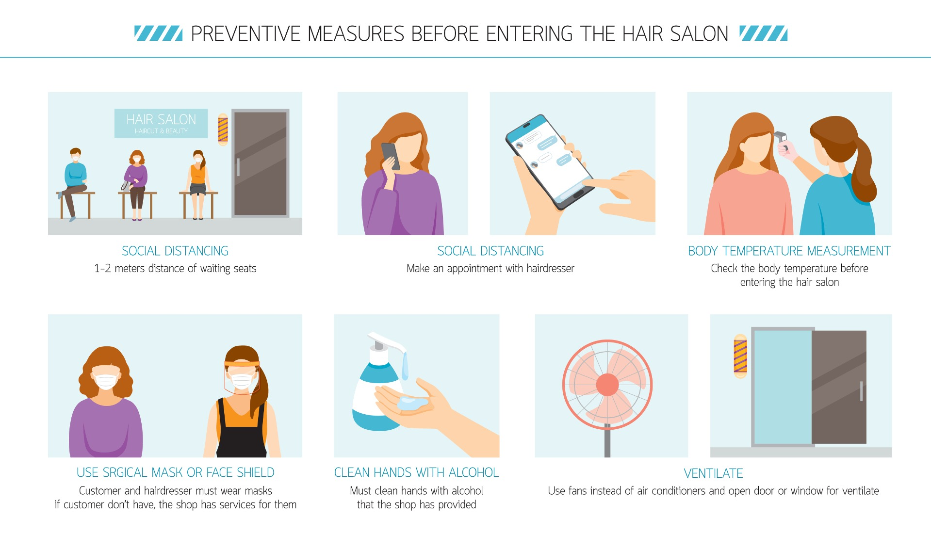 preventive measures before entering the hair salon