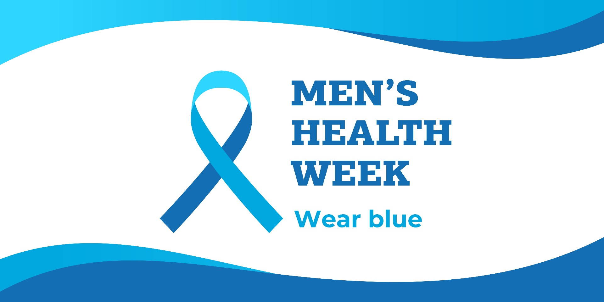 Blue & white graphic with ribbon asking supporters to wear blue for Men's Health Week