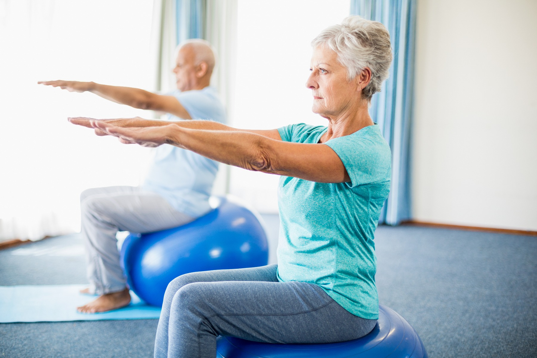 elderly on stability balls