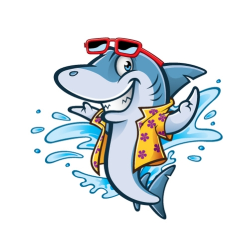 friendly shark in shirt and sunglasses