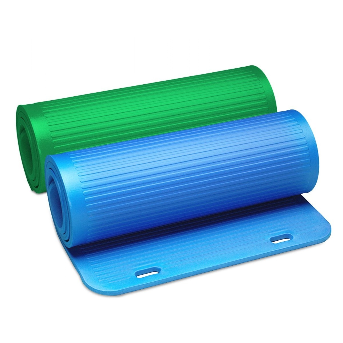 Green and blue TheraBand yoga mats rolled up