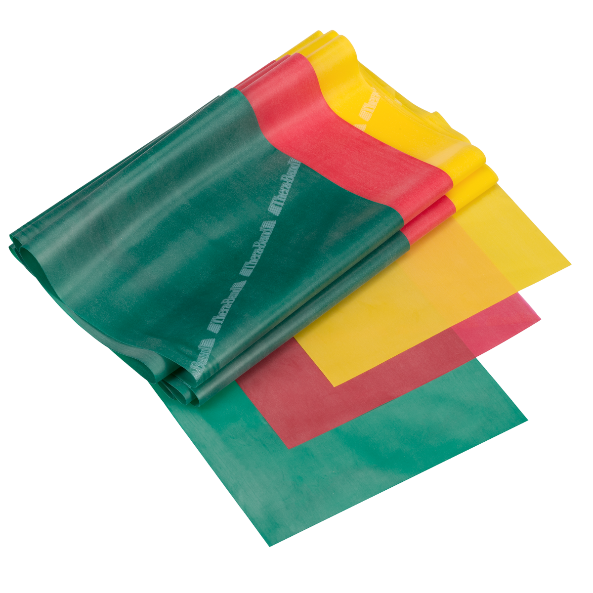 Three beginner level TheraBand resistance bands in green, red and yellow