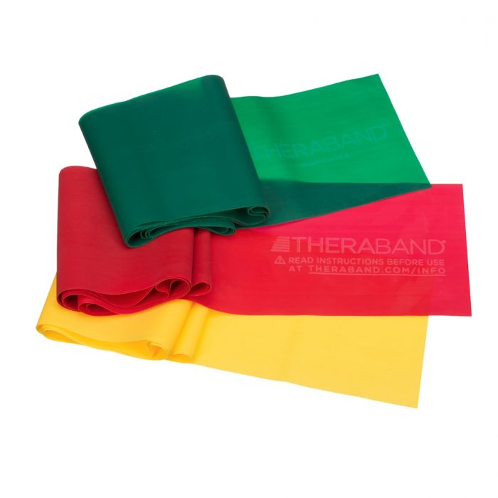 Group of TheraBands in different colors and resistance levels