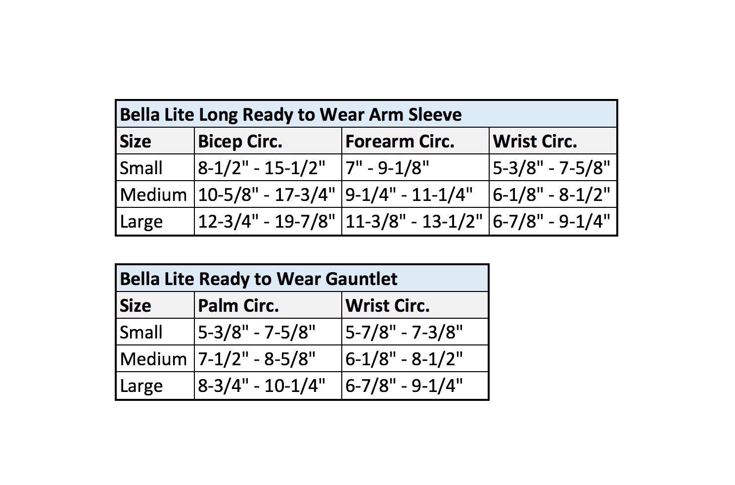 Bella Lite Long Ready-to-Wear Arm Sleeve Size Chart