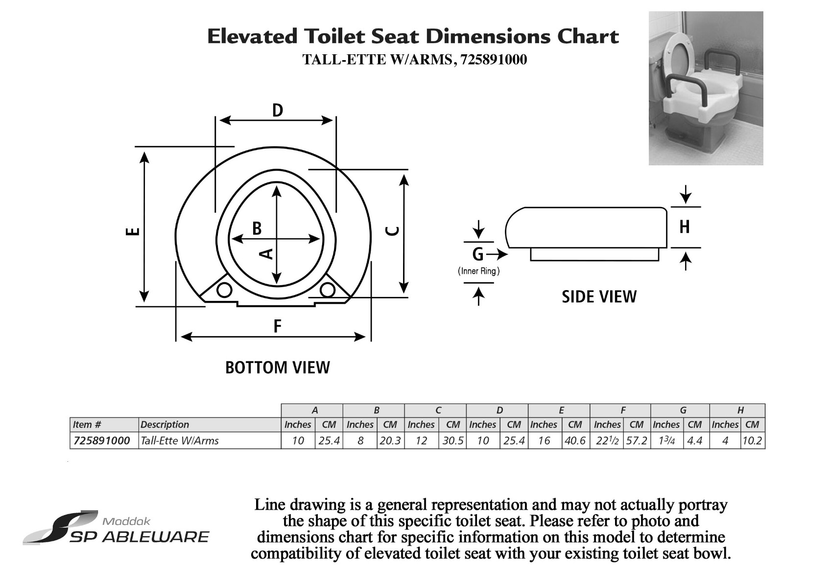 Maddak Extra Wide Tall-Ette Elevated Toilet Seat with Legs